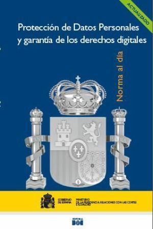 """Portada del libro """"Protección de datos personales y garantía de los derechos digitales"""", publicado por la Agencia Estatal Boletín Oficial del Estado."""