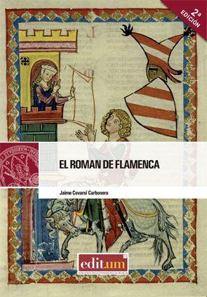 Portada del libro El roman de Flamenca con una ilustración medieval en la que aparece un caballero observando a una dama asomada a un balcón