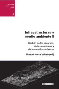 """Portada del libro """"Infraestructuras y medio ambiente II. Gestión de recursos energéticos, emisiones y residuos"""", publicado por Editorial UOC."""