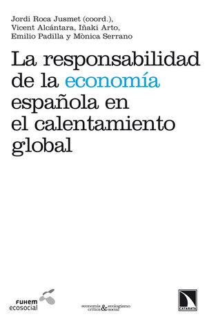 """Portada del libro """"La responsabilidad de la economía española en el calentamiento global""""."""
