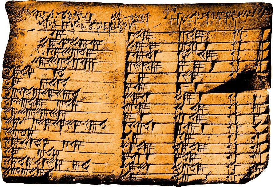 La Tablilla Plimpton 322 con ejercicios matemáticos, base para libros sobre Mesopotamia