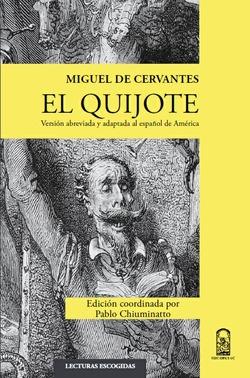 Portada del libro de la Editorial de la Pontificia Universidad Católica de Chile con título de El Quijote. Versión abreviada y adaptada al español de América.