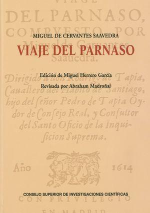 Portada del libro Viaje del Parnaso, de Miguel de Cervantes.