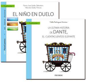 Cubierta del libro Guía el niño en duelo + cuento. La última historia de dante, el cuentacuentos elefante.