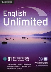 ENGLISH UNLIMITED PRE-INTERMEDIATE COURSEBOOK WITH E-PORTFOLIO AND ONLINE WORKBOOK PACK