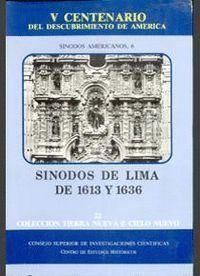 SÍNODOS DE LIMA DE 1613 Y 1636