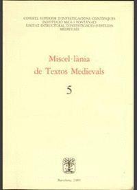MISCEL LÁNIA DE TEXTOS MEDIEVALS, N. 5