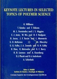 KEYNOTE LECTURES IN SELECTED TOPICS OF POLYMER SCIENCE