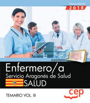 ENFERMERO/A DEL SERVICIO ARAGONÉS DE SALUD. SALUD. TEMARIO. VOL. III