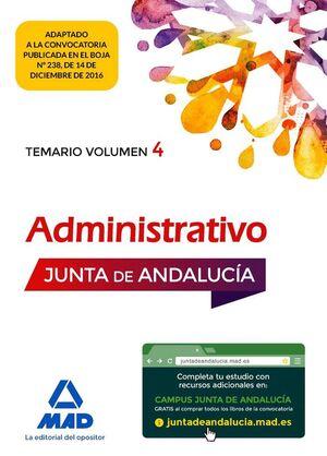 ADMINISTRATIVO DE LA JUNTA DE ANDALUCÍA TURNO LIBRE. TEMARIO VOLUMEN 4