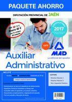 PAQUETE AHORRO AUXILIAR ADMINISTRATIVO DE LA DIPUTACIÓN PROVINCIAL DE JAÉN. AHORRO DE 48 € (INCLUYE TEMARIOS 1 Y 2; TEST Y SUPUESTOS PRÁCTICOS; Y ACCE