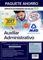 PAQUETE AHORRO AUXILIAR ADMINISTRATIVO DEL SERVICIO EXTREMEÑO DE SALUD. AHORRO DE 63 € (INCLUYE TEMARIO COMÚN Y TEST; TEMARIOS ESPECÍFICOS 1 Y 2; TEST
