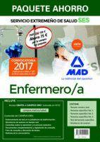 PAQUETE AHORRO ENFERMERO/A DEL SERVICIO EXTREMEÑO DE SALUD. AHORRO DE 75 € (INCLUYE TEMARIO COMÚN Y TEST; TEMARIOS ESPECÍFICOS 1, 2 Y 3; TEST TEMARIO