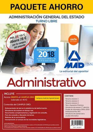 PAQUETE AHORRO ADMINISTRATIVO DEL ESTADO (TURNO LIBRE). AHORRO DE 78 € (INCLUYE TEMARIOS 1, 2 Y 3; TEST Y SUPUESTOS PRÁCTICOS; SIMULACROS EXAMEN PRIME