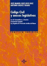 CÓDIGO CIVIL Y ANEXOS LEGISLATIVOS LEY DE CONSUMIDORES Y USUARIOS. CONSTITUCIÓN ESPAÑOLA. LEY ORGÁNI