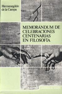 MEMORANDUM DE CELEBRACIONES CENTENARIAS EN FILOSOFÍA