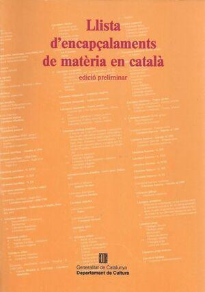 LLISTA D´ENCAPÇALAMENTS DE MATÈRIA EN CATALÀ
