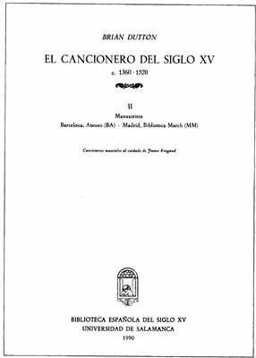 EL CANCIONERO DEL SIGLO XV (C. 1360-1520) TOMO II