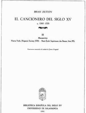 EL CANCIONERO DEL SIGLO XV (C. 1360-1520) TOMO III