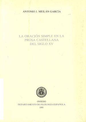 LA ORACIÓN SIMPLE EN LA PROSA CASTELLANA