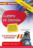 CUERPO DE GESTIÓN DE LA ADMINISTRACIÓN DEL ESTADO. TEMARIO VOL.III: POLÍTICAS PÚBLICAS