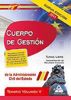 CUERPO DE GESTIÓN DE LA ADMINISTRACIÓN DEL ESTADO. TEMARIO VOL.V: ADMINISTRACIÓN DE RECURSOS HUMANOS