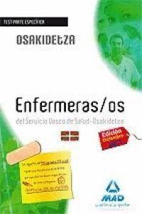 ENFERMEROS, SERVICIO VASCO DE SALUD-OSAKIDETZA. TEST PARTE ESPECFICA