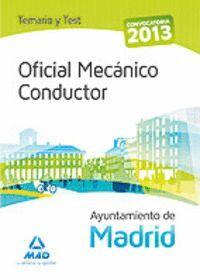 OFICIAL MECÁNICO CONDUCTOR DEL AYUNTAMIENTO DE MADRID.  TEMARIO Y TEST