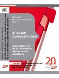 AUXILIAR ADMINISTRATIVO DE LA ADMINISTRACIÓN DE LA COMUNIDAD AUTÓNOMA DE CANTABRIA. TEMARIO MATERIAS
