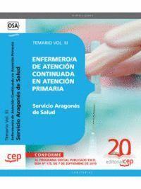 ENFERMERO/A DE ATENCIÓN CONTINUADA EN ATENCIÓN PRIMARIA. SERVICIO ARAGONÉS DE SALUD. TEMARIO VOL. II
