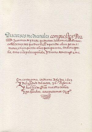 DISCURSOS MEDICINALES (1607)