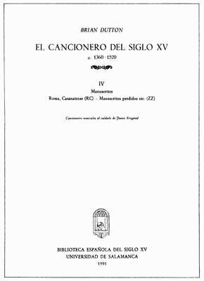 EL CANCIONERO DEL SIGLO XV (C. 1360-1520) TOMO IV