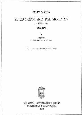 EL CANCIONERO DEL SIGLO XV (C. 1360-1520) TOMO V