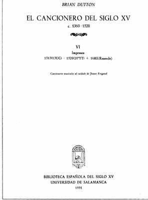 EL CANCIONERO DEL SIGLO XV (C. 1360-1520) TOMO VI