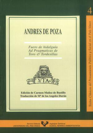 ANDRÉS DE POZA. FUERO DE HIDALGUÍA