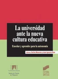 LA UNIVERSIDAD ANTE LA NUEVA CULTURA EDUCATIVA