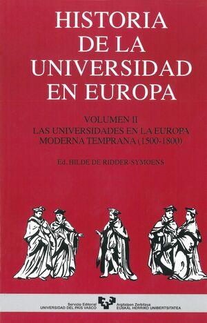 HISTORIA DE LA UNIVERSIDAD EN EUROPA. VOL. 2