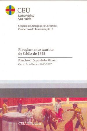 EL REGLAMENTO TAURINO DE CÁDIZ DE 1848