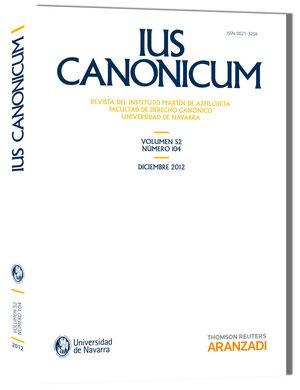 IUS CANONICUM. (VOL 52, Nº 104) 2012