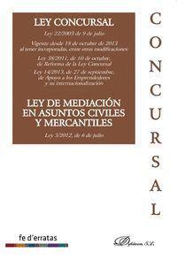 LEY CONCURSAL, LEY 22-2003 DE 9 DE JULIO , LEY DE MEDIACIÓN EN ASUNTOS CIVILES Y MERCANTILES, LEY 5-