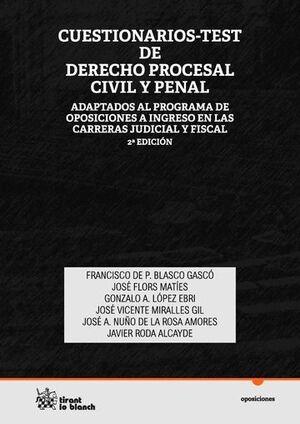 CUESTIONARIOS-TEST DE DERECHO PROCESAL CIVIL Y PENAL