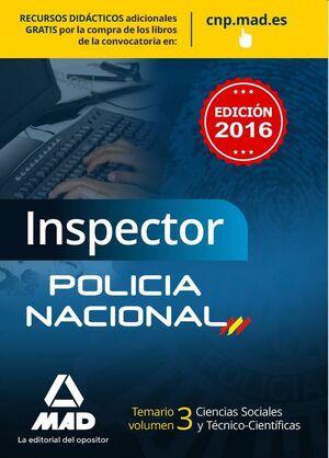 INSPECTOR DE POLICÍA NACIONAL. TEMARIO VOLUMEN 3  CIENCIAS SOCIALES Y TÉCNICO-CIENTÍFICAS