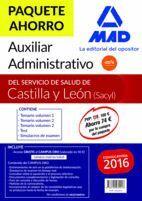 PAQUETE AHORRO AUXILIAR ADMINISTRATIVO DEL SERVICIO DE SALUD DE CASTILLA Y LEÓN. AHORRA 74 ? (TEMARIO VOLÚMENES 1, 2  Y 3; TEST; SIMULACROS DE EXAMEN;