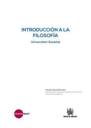 INTRODUCCIÓN A LA FILOSOFÍA . UNIVERSITAT I SOCIETAT