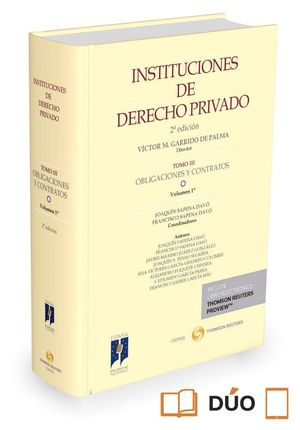 INSTITUCIONES DE DERECHO PRIVADO. TOMO III OBLIGACIONES Y CONTRATOS. VOLUMEN 1º (PAPEL E-BOOK)