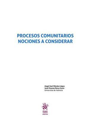 PROCESOS COMUNITARIOS. NOCIONES A CONSIDERAR