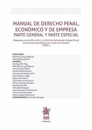 MANUAL DE DERECHO PENAL, ECONÓMICO Y DE EMPRESA PARTE GENERAL Y PARTE ESPECIAL TOMO 2