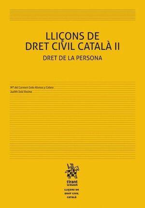 LLIÇONS DE DRET CIVIL CATALÀ II DRET DE LA PERSONA
