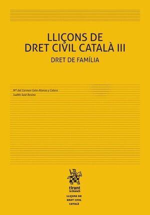 LLIÇONS DE DRET CIVIL CATALÀ III DRET DE FAMÍLIA