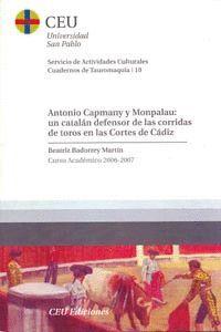 ANTONIO CAPMANY Y MONPALAU: UN CATALÁN DEFENSOR DE LAS CORRIDAS DE TOROS EN LAS CORTES DE CÁDIZ
